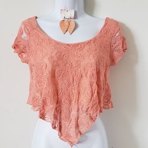 Charlotte Russe Crop Top Peach Lace Short Sleeve M